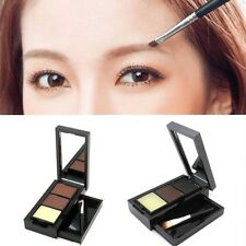 Pro Eye Shadow Eye Brow Makeup 2 Color Powder+Eyebrow Wax Palette + Brush Hot