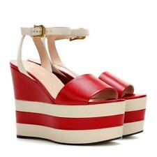 Sexy Platform Wedge Heels Ankle Strap Peep Toe Sandals Leather stripe Shoes Size