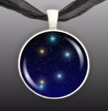 "Libra Constellation Illustration 1"" Space Pendant Necklace in Silver Tone"