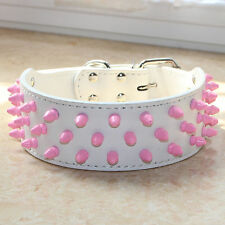 White Leather Pet Dog Collar Pink Spikes&Studs Big Dog Collar Pitbull Terrier