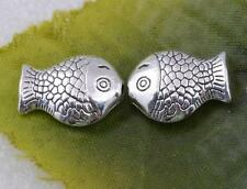 Wholesale tibetan silver lovely fish charms spacer beads 14x10mm  #5606