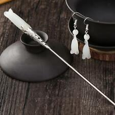 Silver Hair Sticks Vintage Alloy Metal Hair Chopsticks Hairpin + Earrings