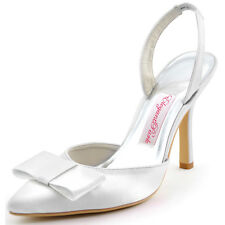 HC1404 White High Heel Wedding Bridal Shoes Pointy Toe Bows Satin Sandals size 5