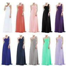 Womens One-shoulder Long Chiffon Bridesmaid Formal Gown Party Evening Prom Dress