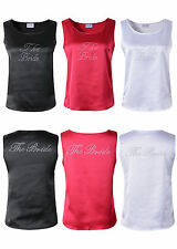 The Bride Tank Top Satin T-shirt Rhinestone Bridal Wedding Hen Party Vest