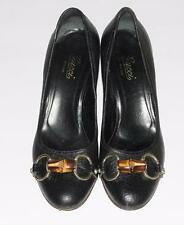 """GUCCI~BLACK~PEBBLED LEATHER *BAMBOO/ GOLD HORSE-BIT* PUMPS SHOES~3"""" HEELS~6.5"""