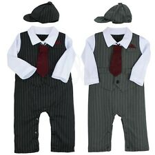 Boys Baby Gentleman Cotton Romper Hat+Outfits Formal Wedding Ties Party Jumpsuit
