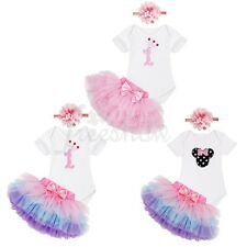 3Pcs Baby Girls Birthday Party Romper Dress Tulle Tutu Skirts Headband Outfits