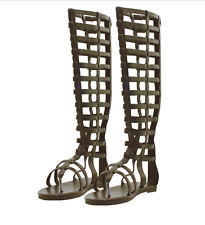 Mens Gladiator Faux Leather KNEE HIGH MULTI STRAP SANDAL BROWN - Flat Sole