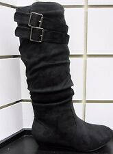 NEW WOMEN WEDGE SLOUCH DRESS CASUAL KNEE HIGH FASHION BOOT W/BUCKLE ACCENT