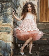 Pink Applique Flower Girl Dress Sleeveless Short Party Lovely Pageant Ball Gowns
