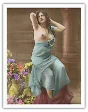 Classic Tinted French Nude Vintage French Postcard Art Poster Print Giclée