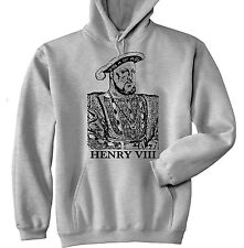 HENRY VIII KING OF ENGLAND - NEW COTTON GREY HOODIE - ALL SIZES IN STOCK