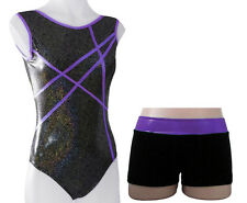 PURPLE STARDUST LEOTARD + SHORTS - GIRLS SIZES 2 to 16 - GYMNASTICS DANCE GYM