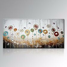 Handmade Abstract Modern Oil Painting Flowers Wall Art on Canvas Decor NO Frame