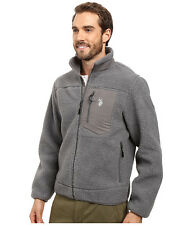 U.S. POLO ASSN. Mens Jacket Casual Full Zip Sherpa M L or XL Grey NWT
