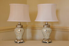 Pair of Table Lamps Antique Silver & Sparkle Mosaic Base White Shade 46cm Height