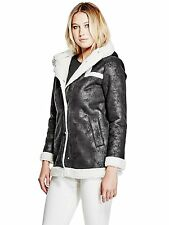 Guess Womens Jacket Coat Hooded Shearling Sherpa Lined S or M Black NWT