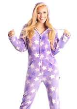 Unisex Soft Purple Stars Hooded Adult Sized Footed Holiday Christmas Pajamas