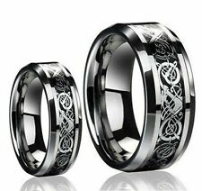 Gents Or Ladies Tungsten Carbide LOYAL CELTIC KNOT DRAGON Wedding Band Ring SET