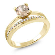 0.85 Ct Round Peach Morganite 18K Yellow Gold Plated Silver Ring