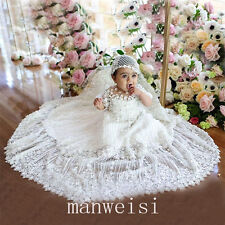 Soft Baby Christening Short Sleeve Lace Toddler Baptism Gown Elegant With Bonnet