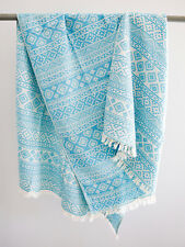 Stonewashed Beach & Bath Towel Boho Throw Blanket Geometric Natural Cotton Wrap