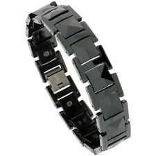 Tungsten Carbide Black Magnetic Bracelet w/ Triangular Faceted Cushion Links