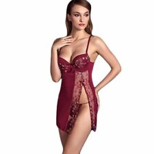 Sexy Babydoll Embroidery Nightdress G-String Voile black wine red