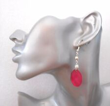 Bright Pink Shell Dangly Earrings  - Pierced or Clip-on