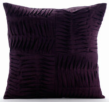 Purple Textured Pintucks 45x45 cm Cotton Linen Cushion Covers - Purple Pleats