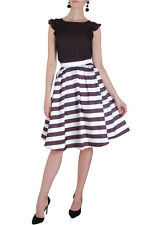 Humble Chic Women's Striped Midi Skirt - High Waisted A-Line Pleated Fit Flare
