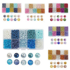 1 Box Mixed Style Glass Beads Crackle Transparent Pearl Beads Round 4mm/6mm/8mm