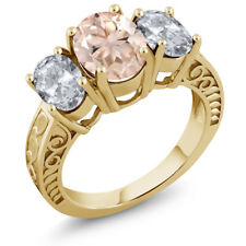 3.50 Ct Oval Peach Morganite White Topaz 18K Yellow Gold Plated Silver Ring