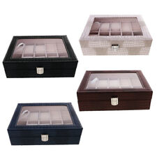 Mens Watch Box PU Leather Jewelry Display Storage Organizer Case Clear Top