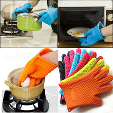 Kitchen Heat Resistant Silicone Glove Oven Pot Holder Baking BBQ Cooking Mitt AU