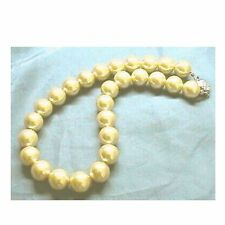 Golden GOLD Sea Shell Pearl Necklace Wedding Bridal Bridesmaids Prom 12mm 14mm