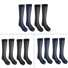 2Pairs Mens Striped Thin Over-the-Calf Casual Business Silk Striped Summer Socks