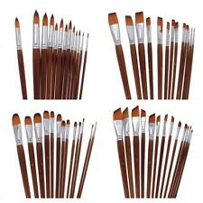 13pcs Nylon Hair Paint Brushes Round/Flat/Filbert/Angled Tips Artists Brushes