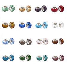 10pcs Rondelle Glass European Beads Faceted Single Core Charms 14mm Pick Color