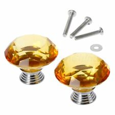 Amber 40mm Knobs Handle Crystal Glass Pull Cabinet Furniture Door 1/12Pcs Knobs