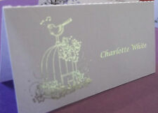 54 table place cards with personalised text & birdcage with gold or silver text