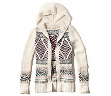 Abercrombie & Fitch – Hollister Sweater Womens Cardigan Zip Hooded S Cream NWT