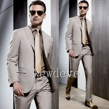 Tan Men Fashion Wedding Suits 3 Pcs Wedding Guest Business Formal Tuxedos Custom