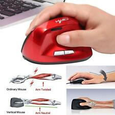 Ergonomic Vertical Mice Wireless Optical 2400DPI USB Mouse for PC MagiDeal
