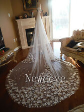 Antique White/Ivory Wedding Veil 3 M 2 T Cathedral Bridal Lace Applique Custom