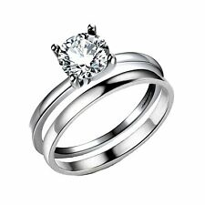 Envy Solitaire Sterling Silver 1.25Ct Engagement Bridal Wedding Ring Band Set