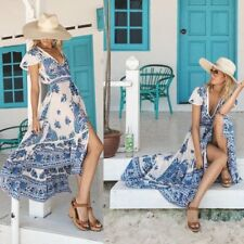 Women's Summer Long Dresses Beach Short Sleeve Evening Party Maxi Sundress Boho