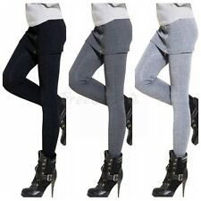 Womens High Waist Slim Stretch Skinny Leggings With Zippered Skirt Casual Pants