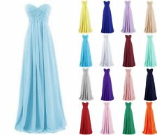 New Strapless Long Chiffon Evening Formal Party Gowns Bridesmaid Dress Prom 6-18